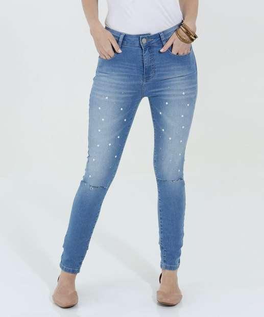 Image_Calça Feminina Jeans Skinny Perólas Sintéticas
