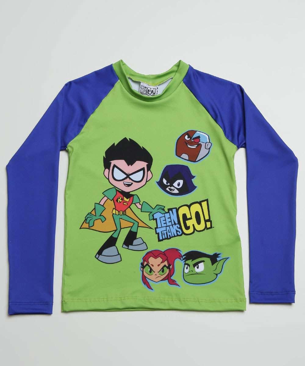 Camiseta Praia Infantil Proteção UV Jovens Titãs Warner Bros Tam 4 a 10