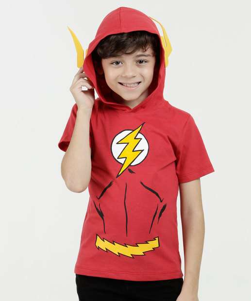 Image_ Regata Infantil Estampa Flash Capuz Liga da Justiça