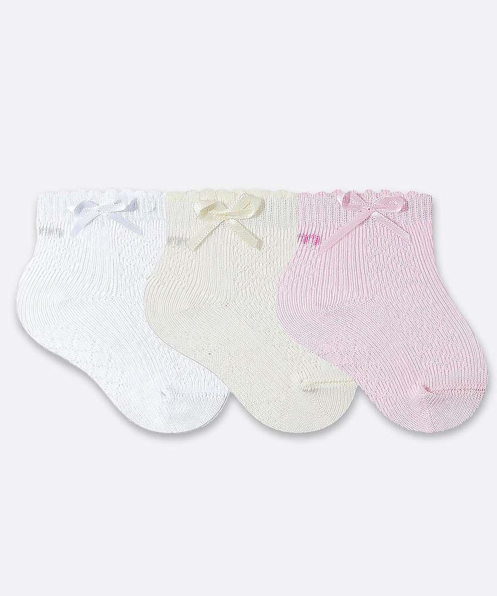 Kit 3 Pares Meia Infantil Bebê Soquete Laço