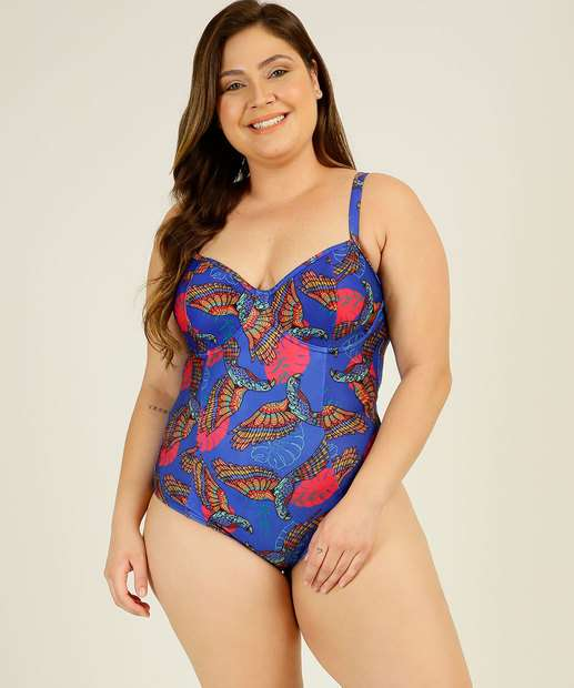 Image_Maiô Plus Size Feminino Estampado Alças Finas Banho de Mar