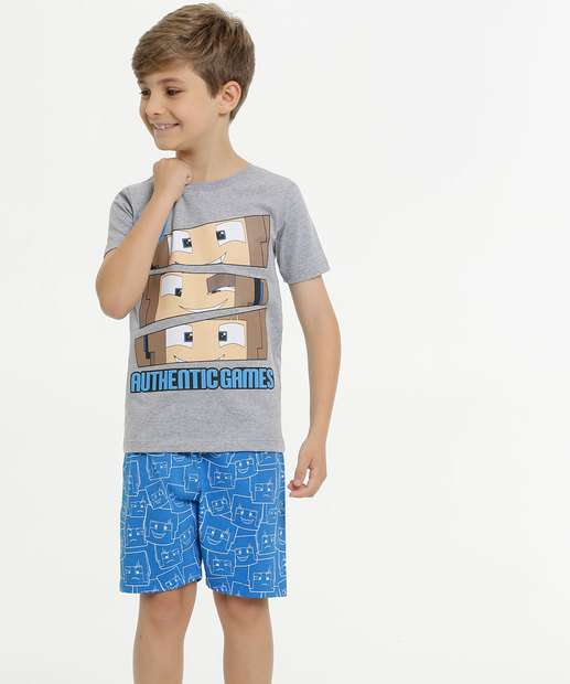 Image_Pijama Infantil Estampa Minecraft Manga Curta Authentic Games