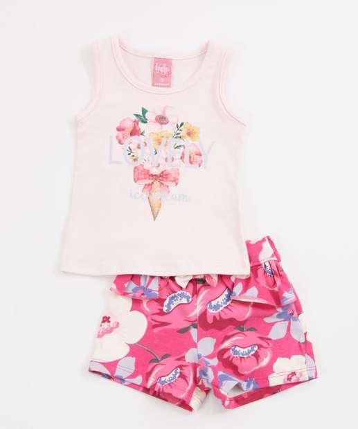 Image_Conjunto Infantil Bebê Estampa Floral Manga Curta