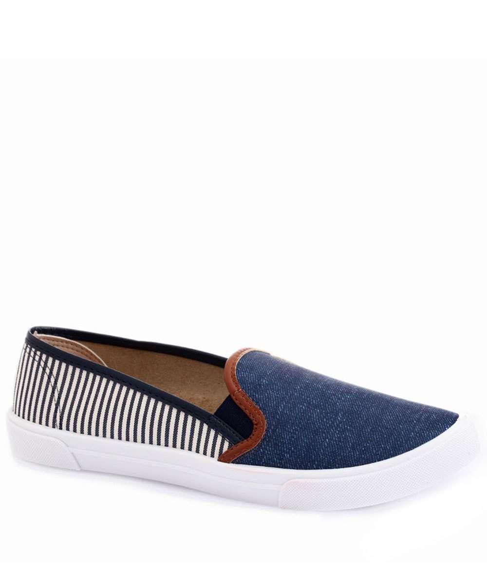 Tênis Feminino Casual Listrado Jeans Moleca 529610