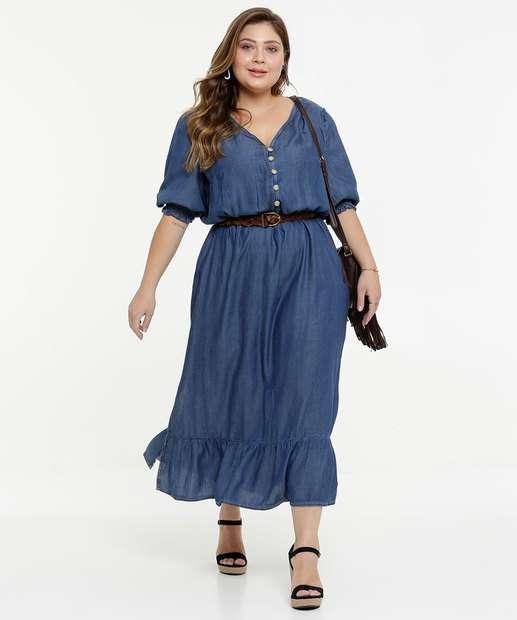 Image_Vestido Plus Size Midi Jeans Feminino