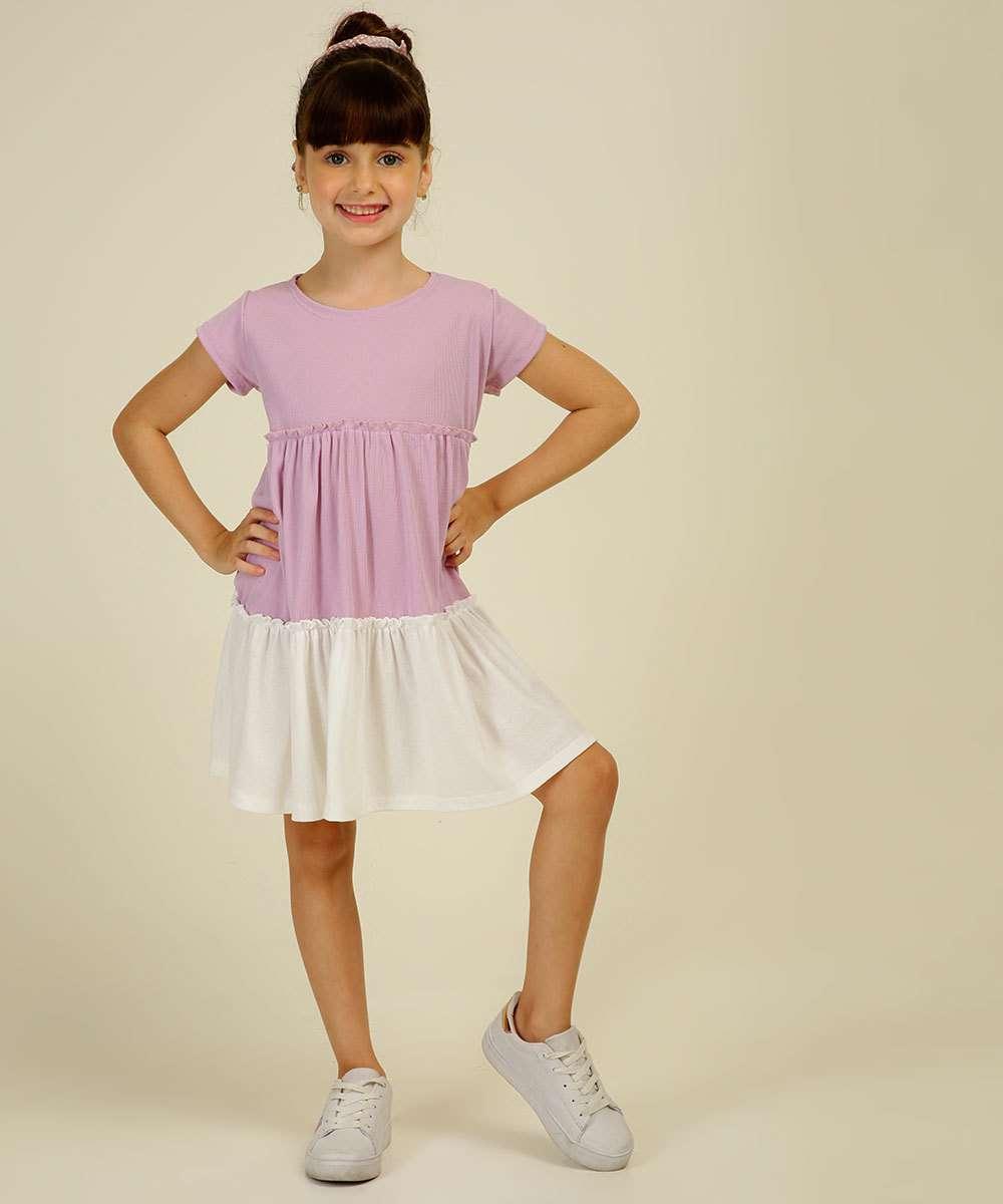 Vestido Infantil Manga Curta Tam 4 a 10