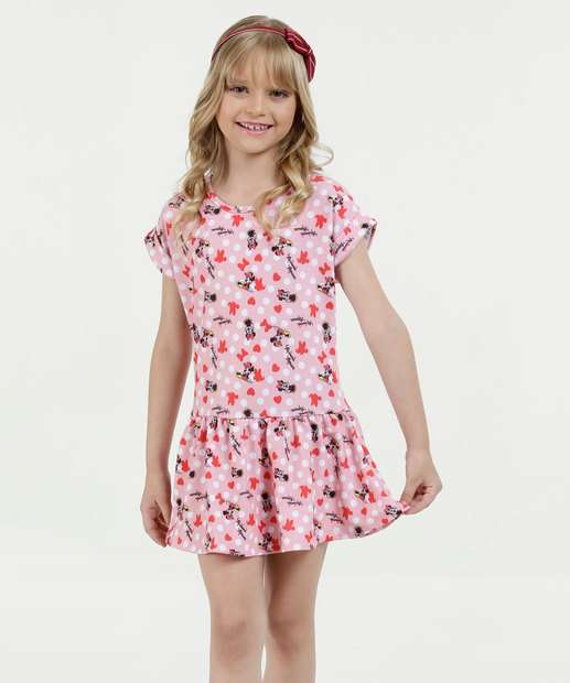 Image_Vestido Infantil Estampa Minnie Manga Curta Disney