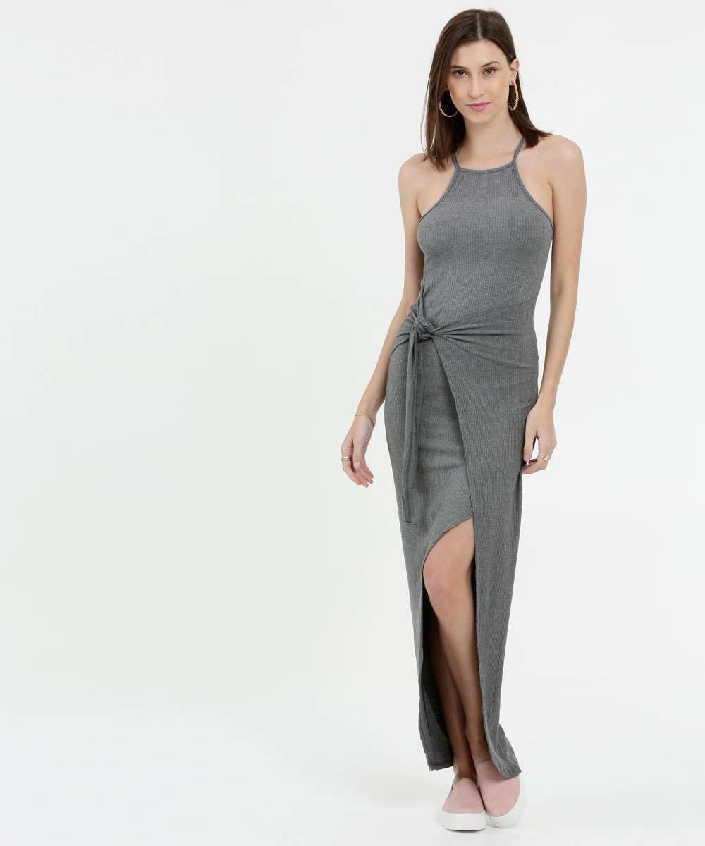 Vestido Feminino Longo Canelado Alças Finas