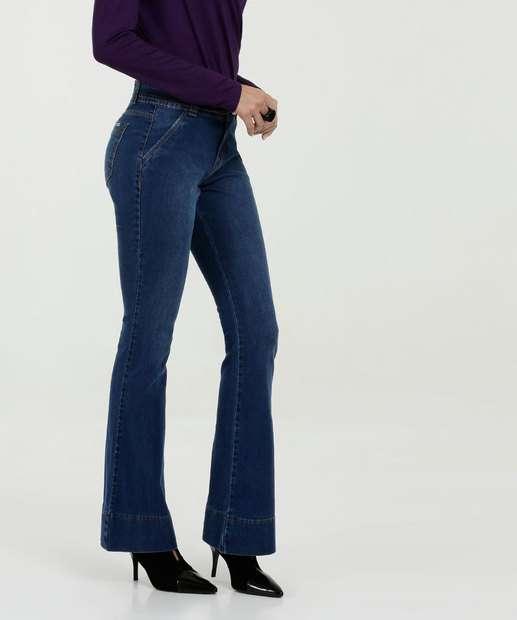 8c2d54f64 Calça Feminina Jeans Flare Cintura Média Marisa
