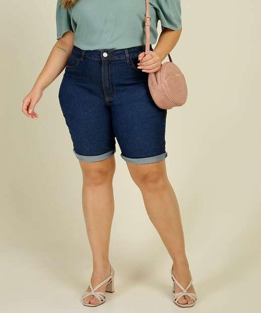 Image_Bermuda Plus Size Feminina Jeans Botões