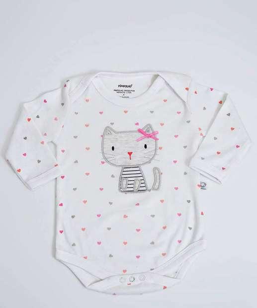 Image_Body Infantil Bebê Estampa Gato Pimpolho Tam 0 a 8 Meses