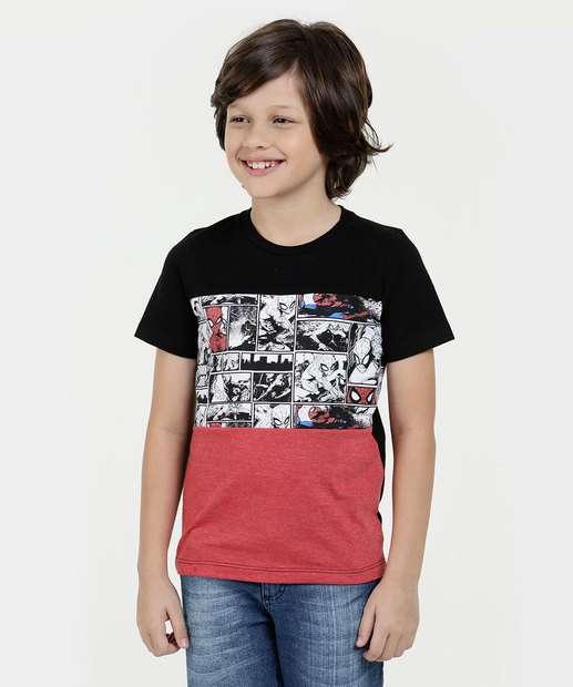 Camiseta Infantil Homem Aranha Manga Curta Marvel 125bb7b716f64