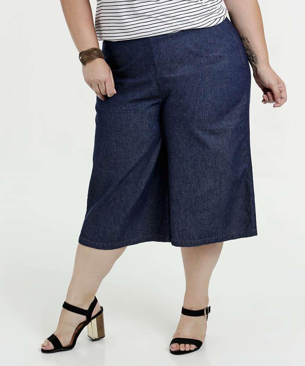d11072f72b Calça Feminina Jeans Pantacourt Plus Size Marisa