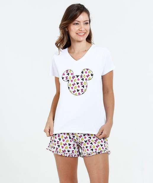 Image_ Pijama Feminino Short Doll Estampa Minnie Disney