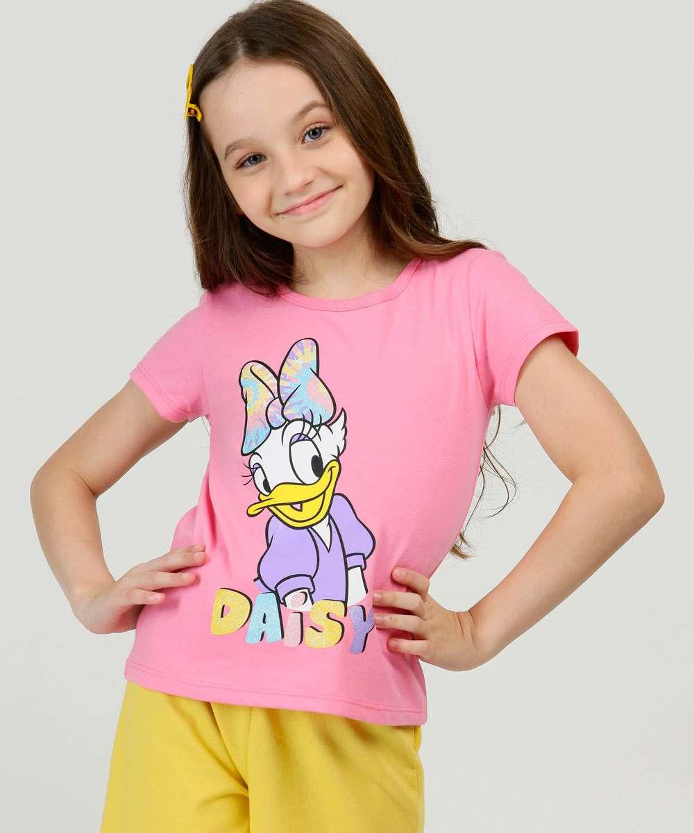 Blusa Infantil Manga Curta Estampa Margarida Disney Tam 4 a 10