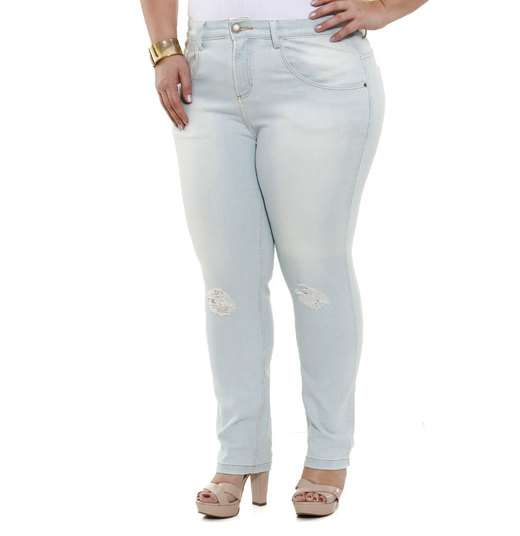 Image_calça feminina em jeans com puído Plus Size