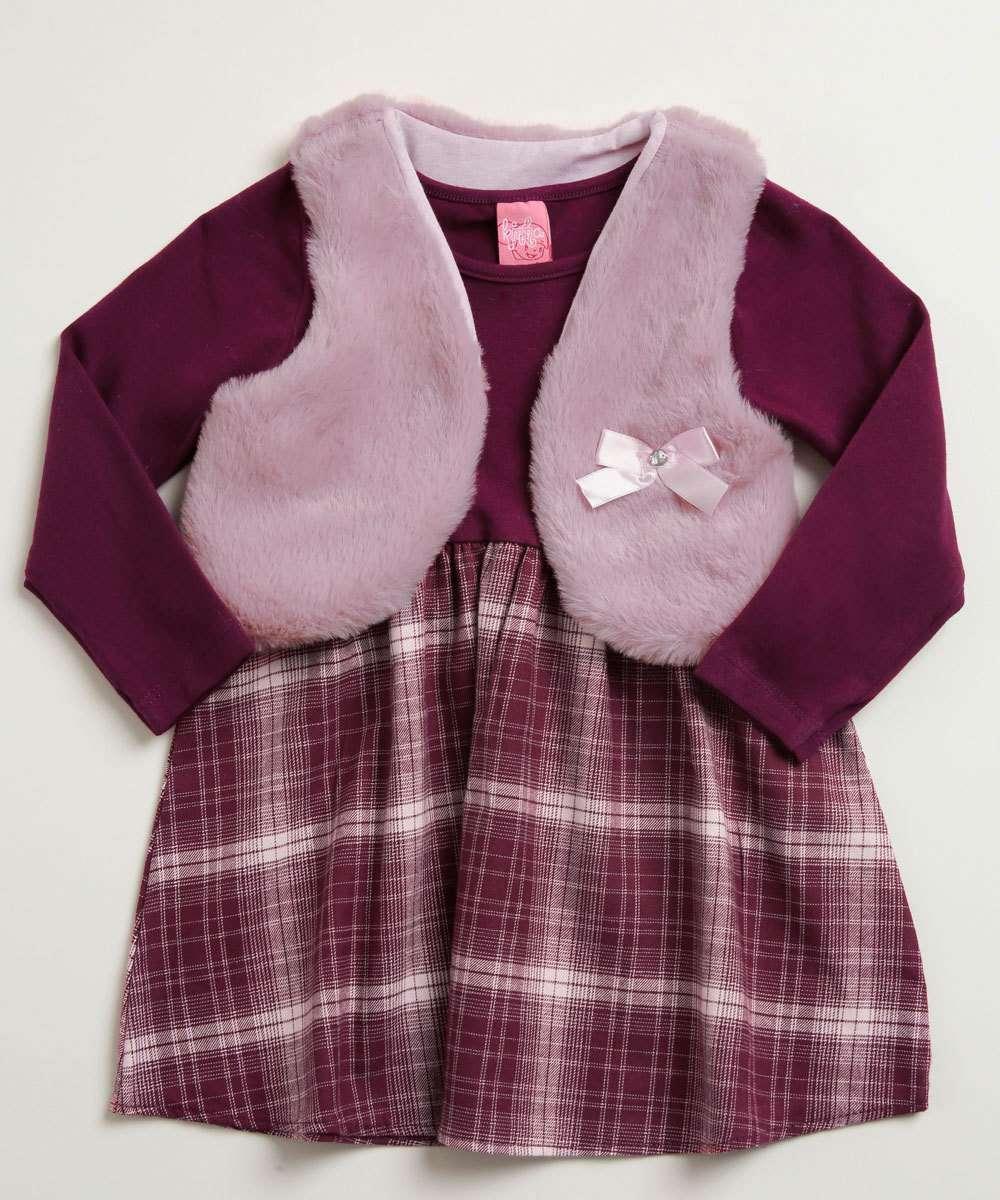 Conjunto Infantil Vestido Colete Estampa Xadrez