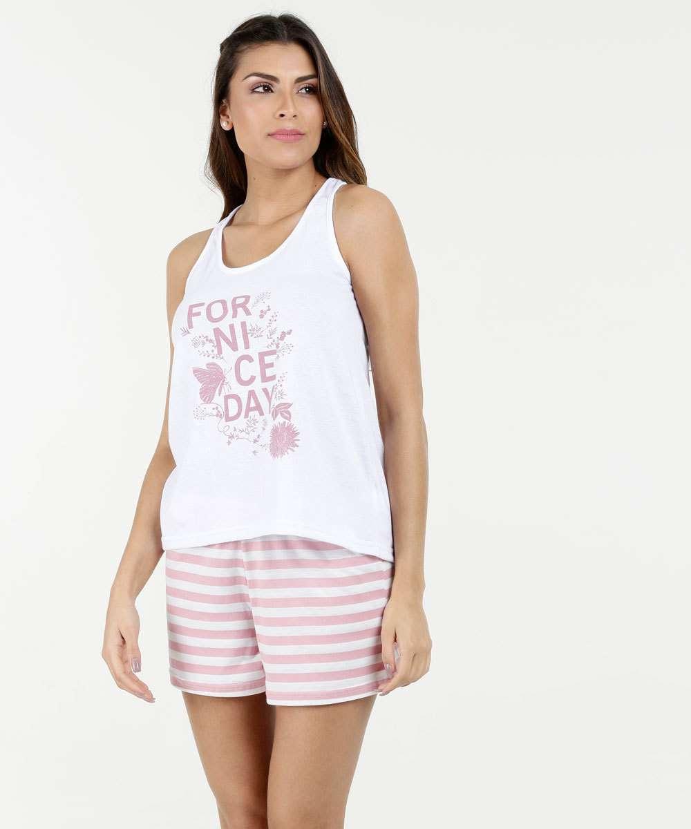 b4b821914ead98 Pijama Feminino Short Doll Estampa Flores Marisa | Marisa