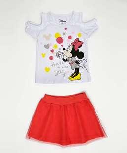 Conjunto Infantil Estampa Minnie Open Shoulder Manga Curta Disney