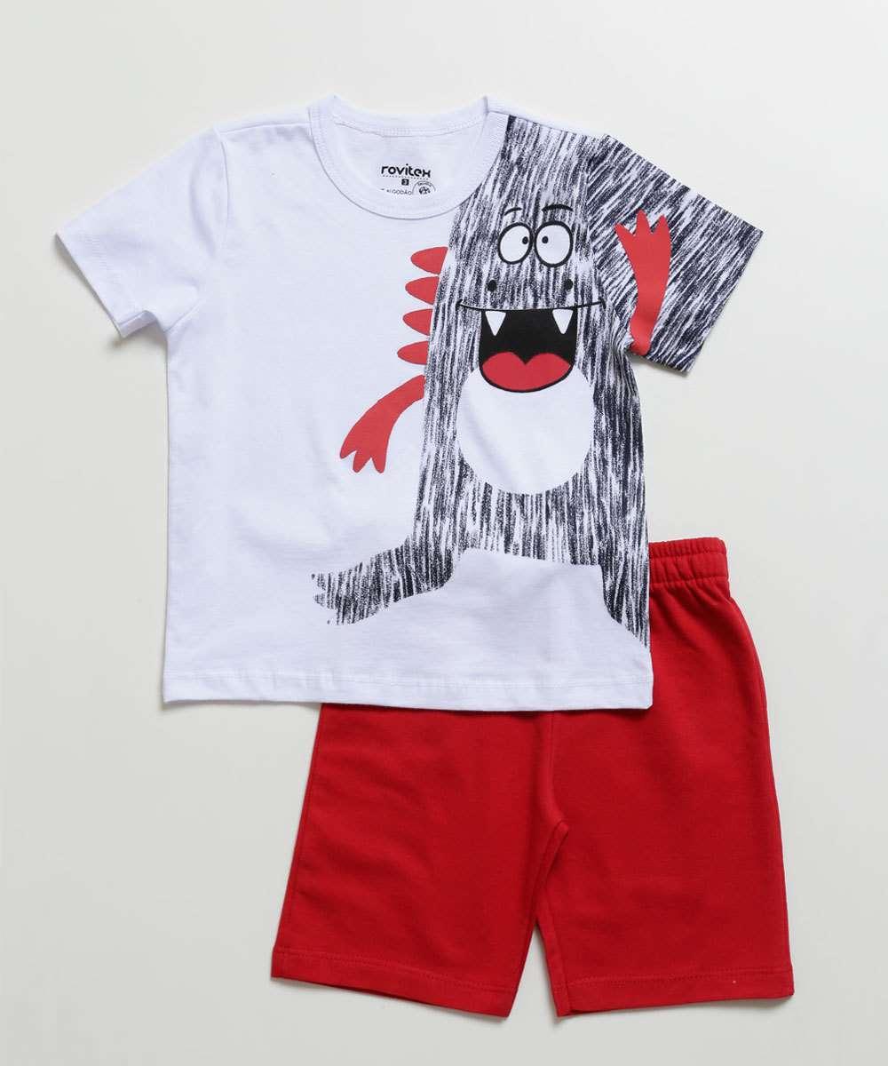 Conjunto Infantil Estampa Dinossauro Manga Curta