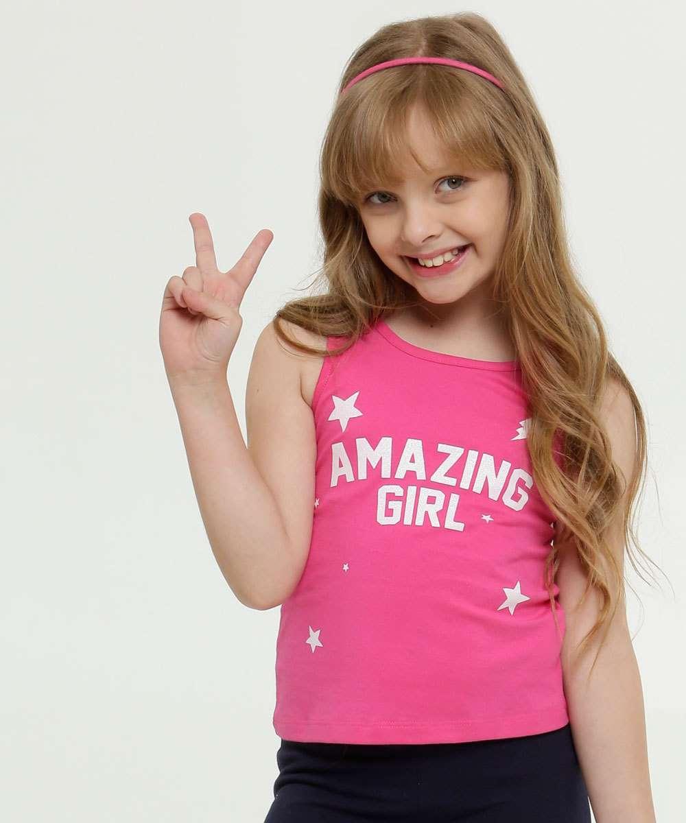 Regata Infantil Estampa Frontal Glitter Marisa