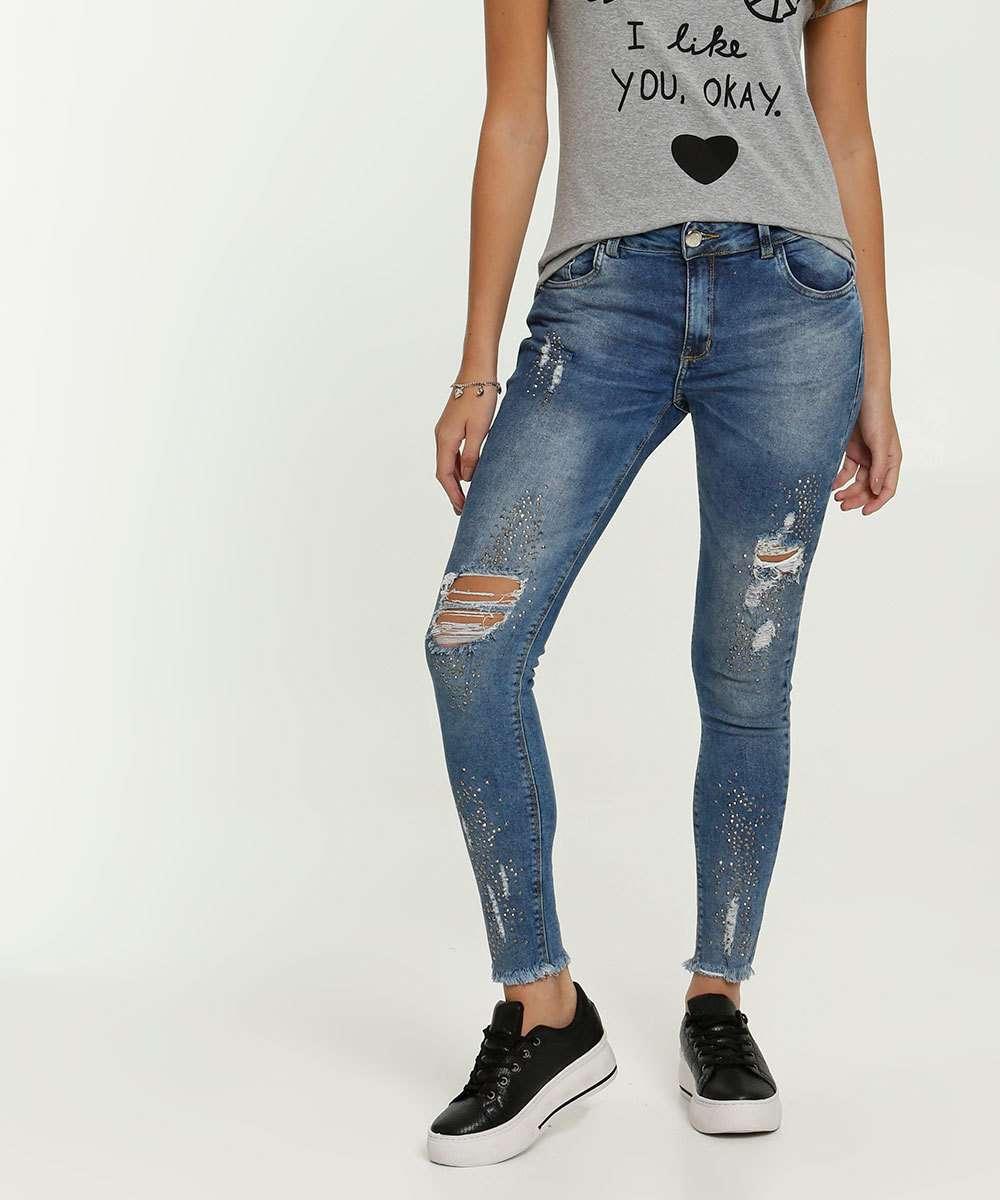 Calça Feminina Jeans Skinny Destroyed Strass Zune By Sabrina Sato