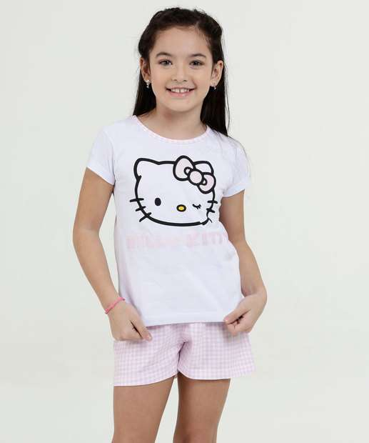 Image_Pijama Infantil Estampa Hello Kitty Manga Curta Sanrio