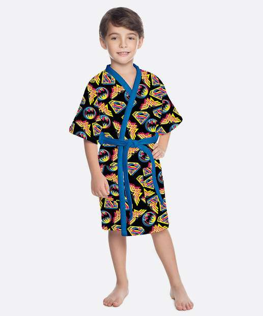 Image_Roupão Infantil Aveludado Estampa Liga da Justiça Lepper