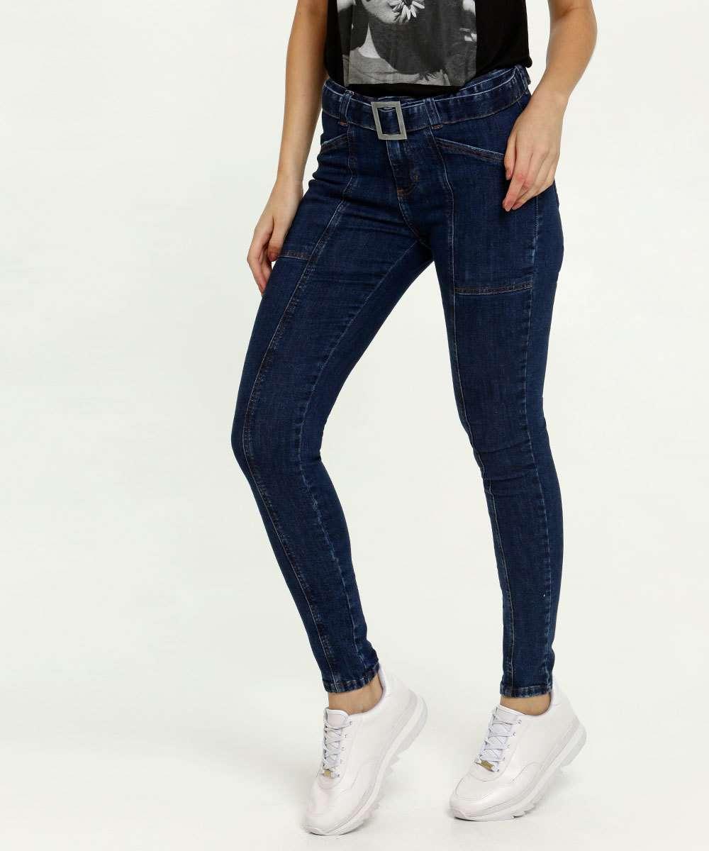 Calça Jeans Skinny Feminina Cinto Marisa