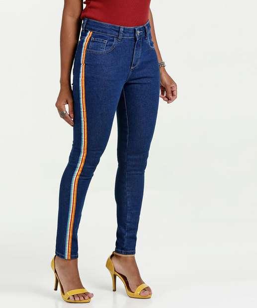 Image_Calça Feminina Jeans Skinny Faixa Colorida Marisa
