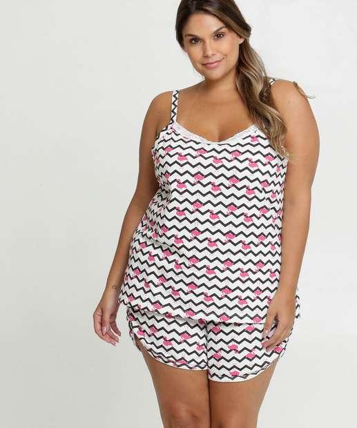 Image_Pijama Feminino Estampa Flamingo Plus Size Alças Finas