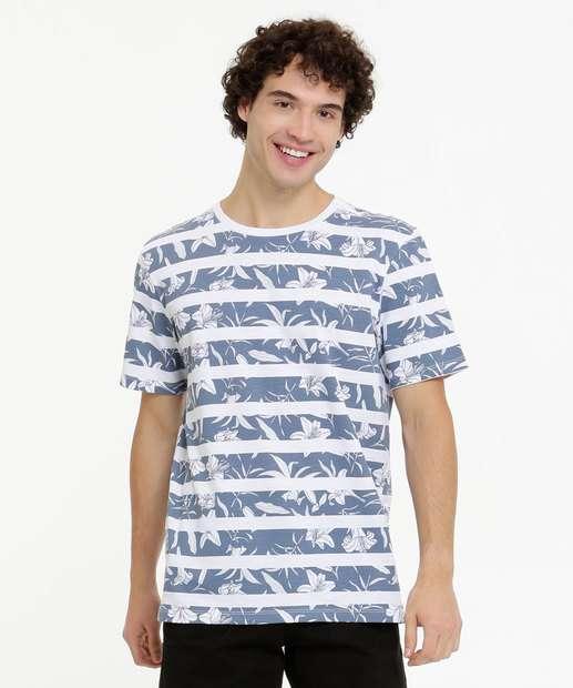 Image_Camiseta Masculina Listrada Floral Manga Curta MR