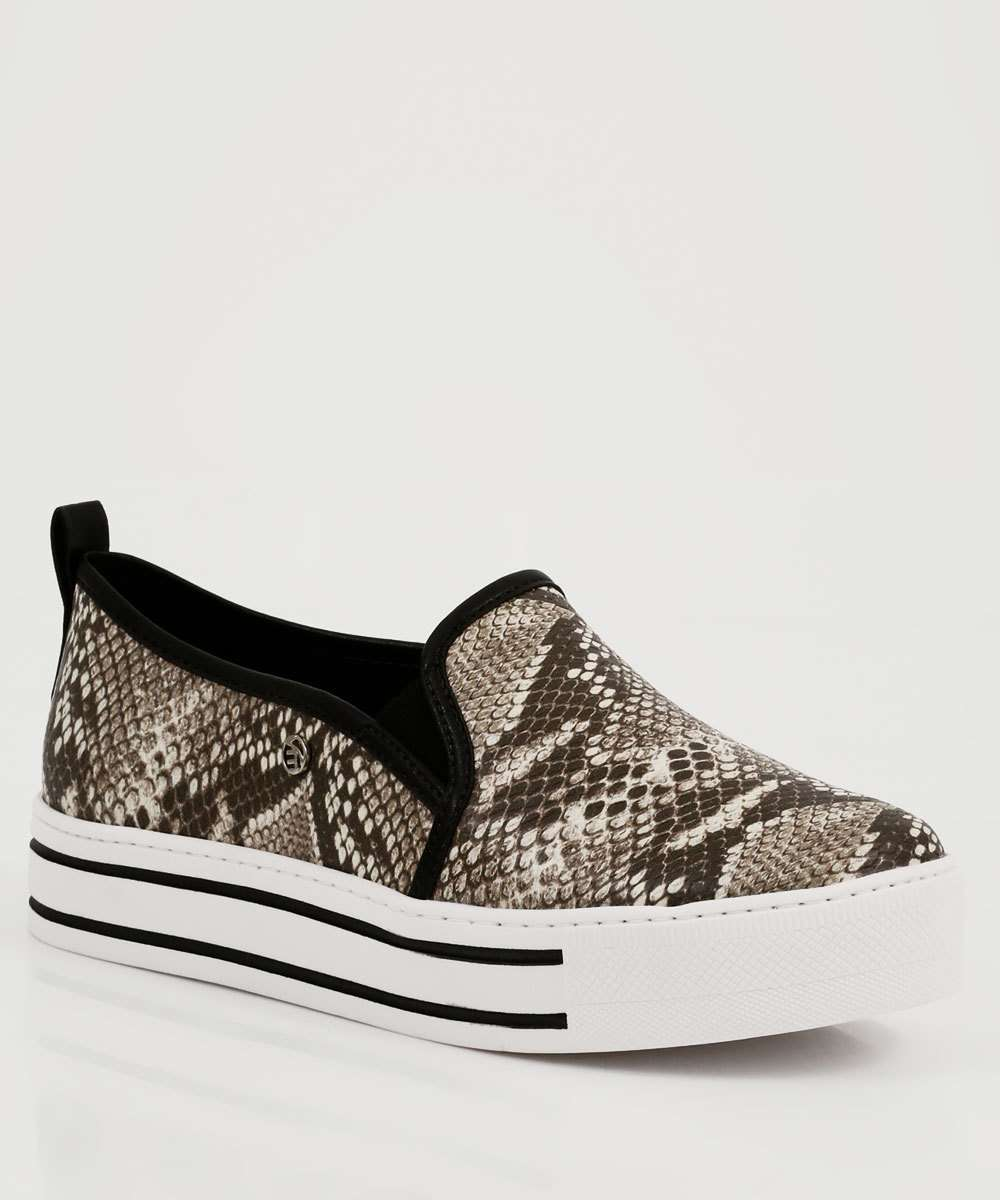 Tênis Feminino Slip On Flatform Animal Print Via Marte