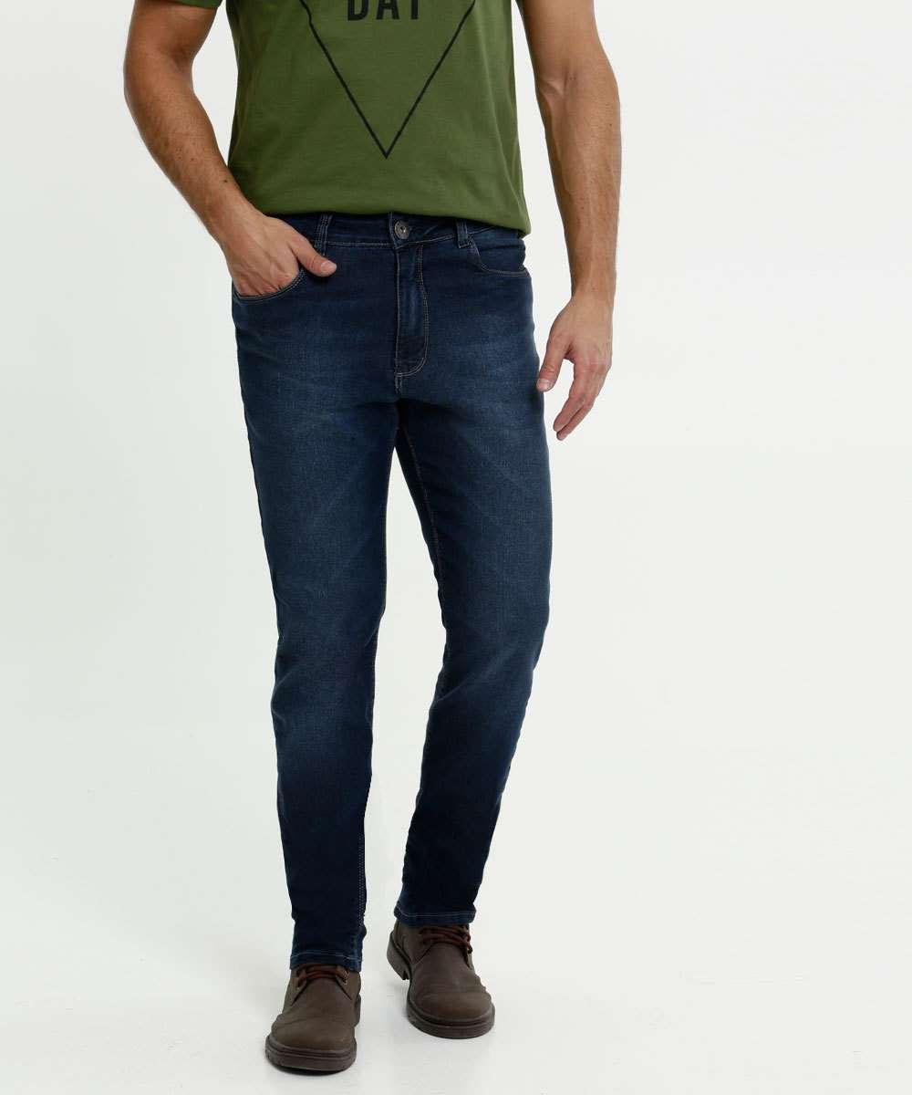 Calça Masculina Jeans Bolsos Skinny Razon