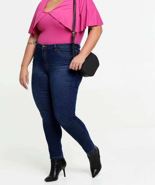 Image_Calça Jeans Skinny Feminina Bolsos Plus Size Razon