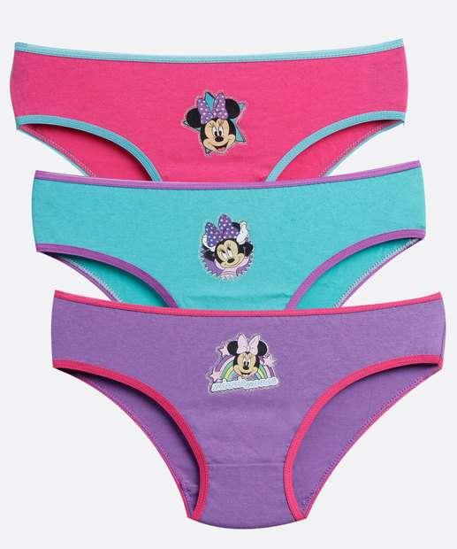 Image_Kit 3 Calcinhas Infantil Estampa Minnie Disney
