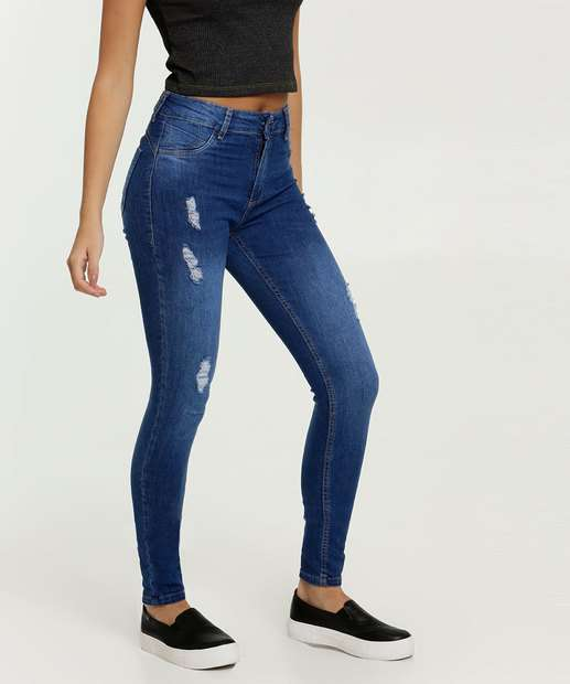 Image_Calça Feminina Jeans Skinny Destroyed Sawary