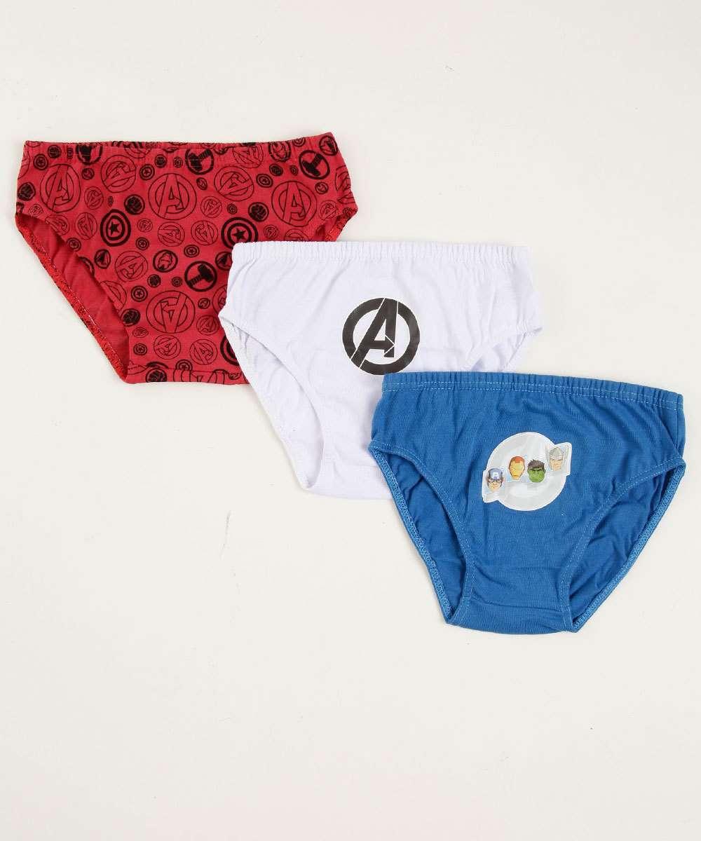 Kit 3 Cuecas Infantil Estampa Os Vingadores Marvel