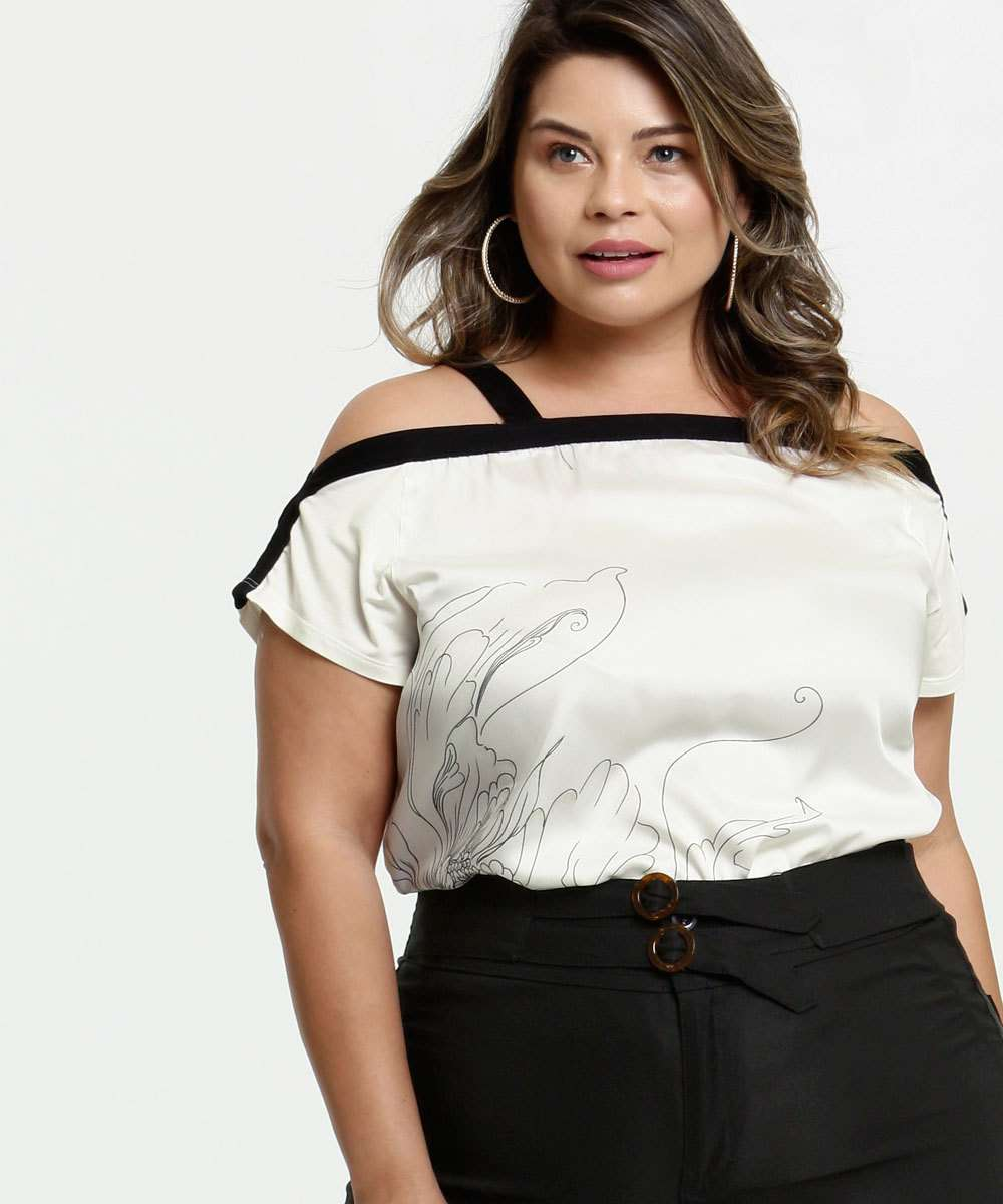 Blusa Feminina Open Shoulder Estampa Flor Plus Size