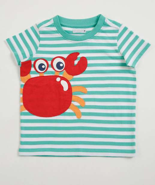 Image_Camiseta Infantil Listrada Caranguejo Manga Curta Marisa