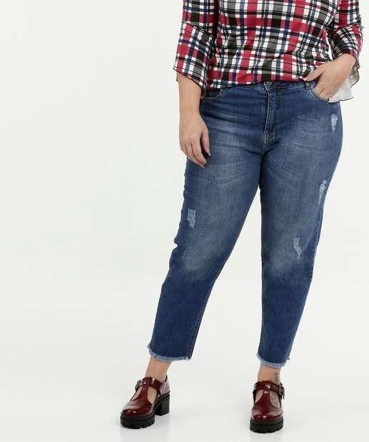 Image_Calça Feminina Jeans Cigarrete Puídos Plus Size Razon