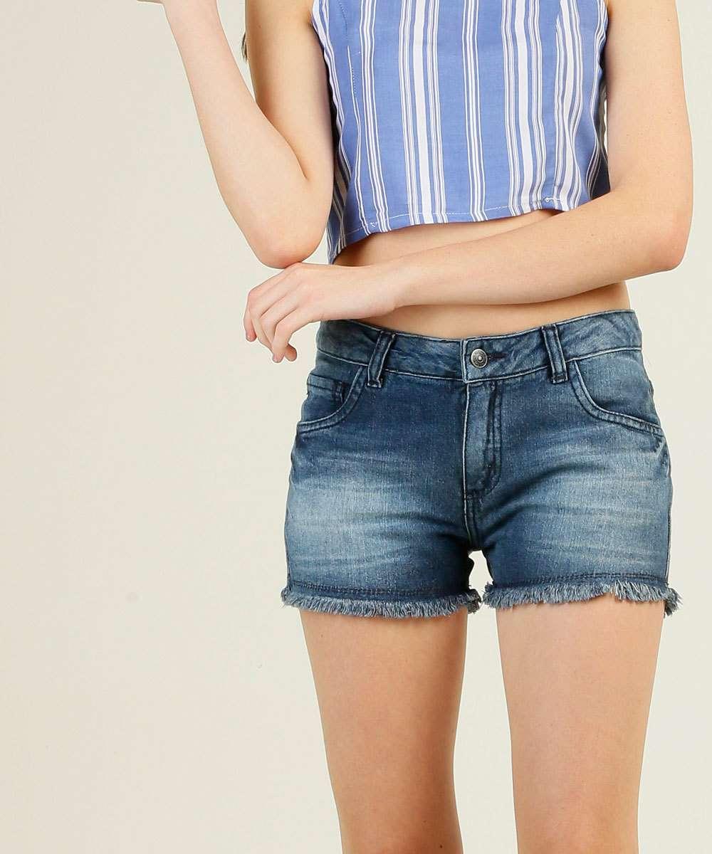 Short Juvenil Jeans Barra Desfiada Marisa Tam 10 a 16