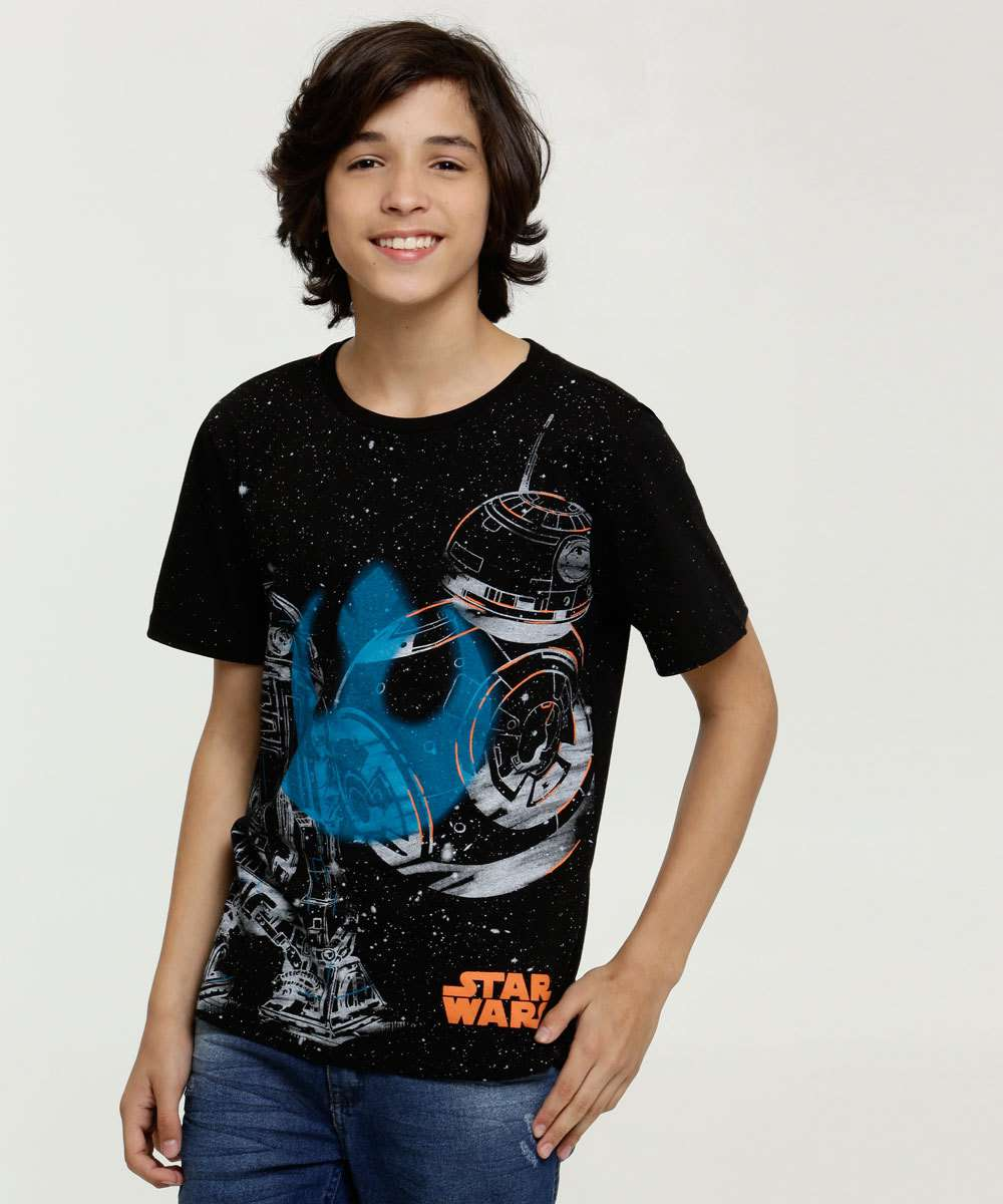 Camiseta Juvenil Estampa Star Wars Manga Curta Disney