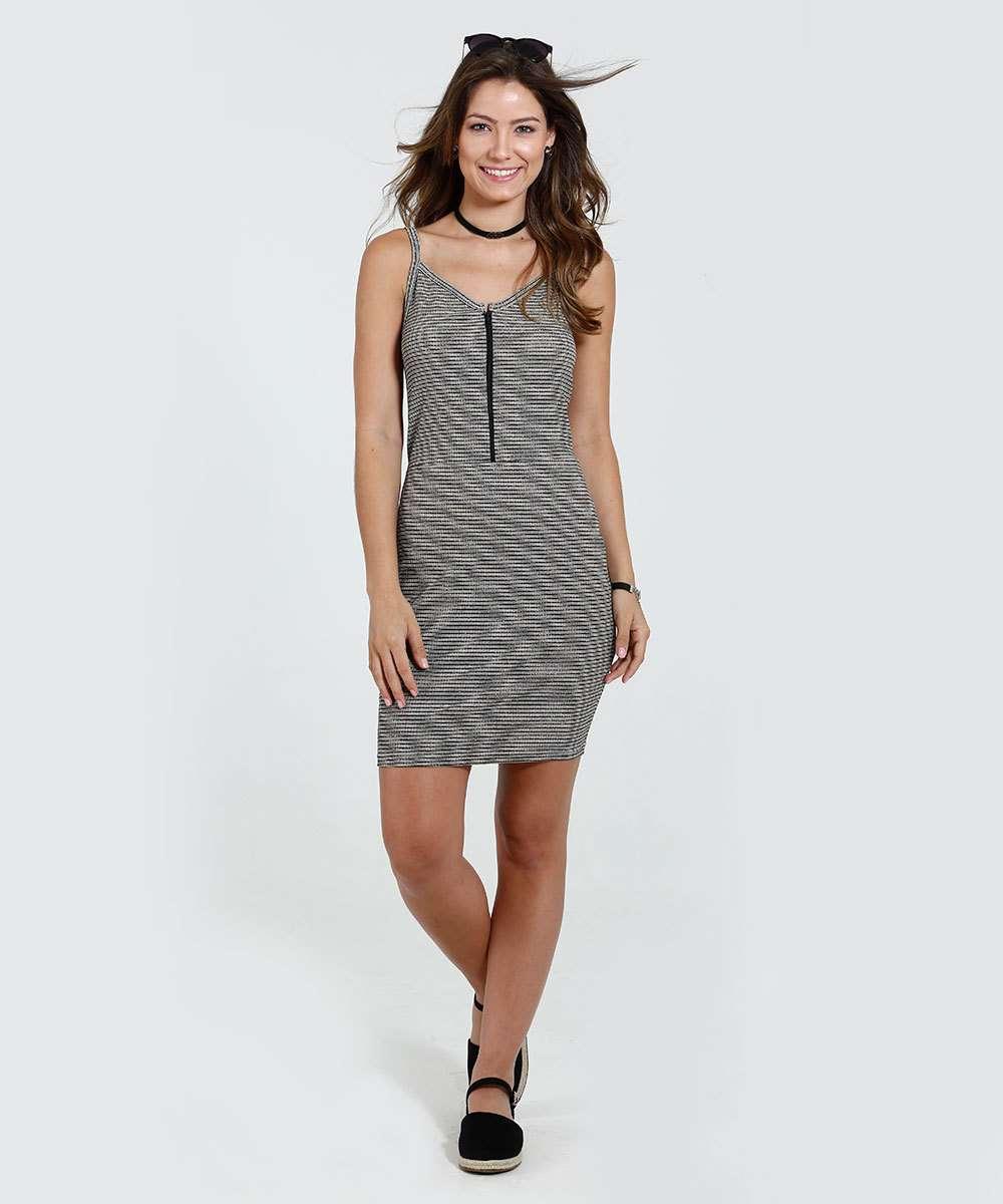 25a35a707 Menor preço em Vestido Feminino Listrado Alças Finas Marisa