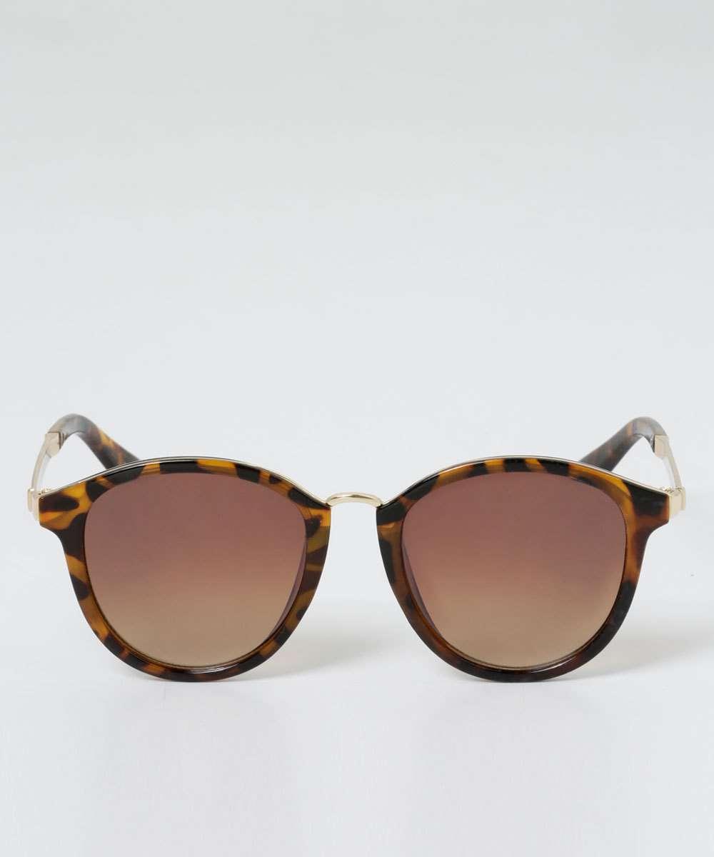 b8f840dcf Óculos de Sol Feminino Redondo Estampa Animal Print Marisa | Marisa
