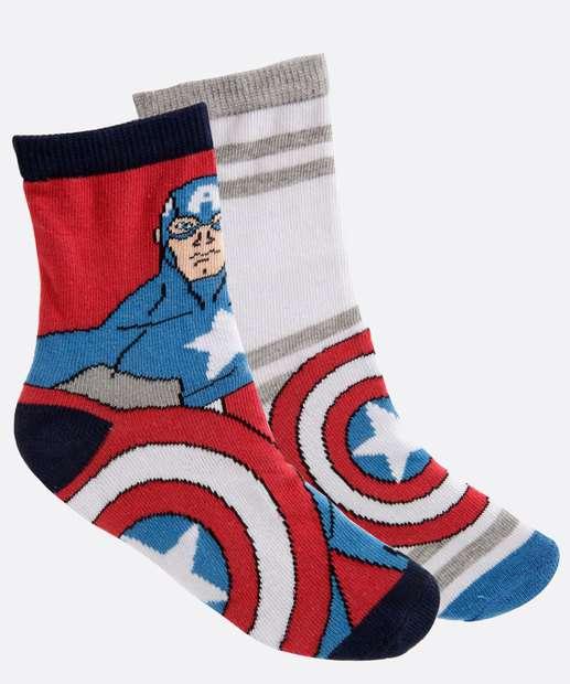 Image_Kit 2 Meias Infantil Estampa Capitão América Marvel