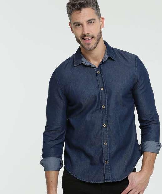Image_Camisa Masculina Jeans Manga Longa