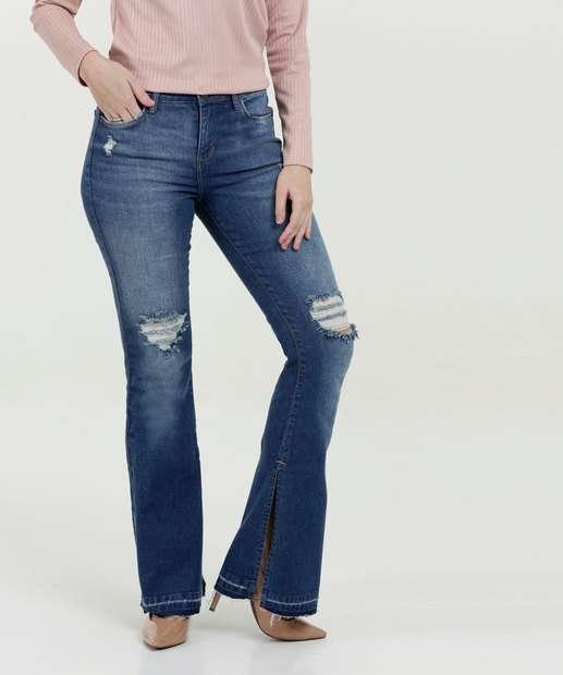 Image_Calça Feminina Jeans Destroyed Stretch Flare Marisa