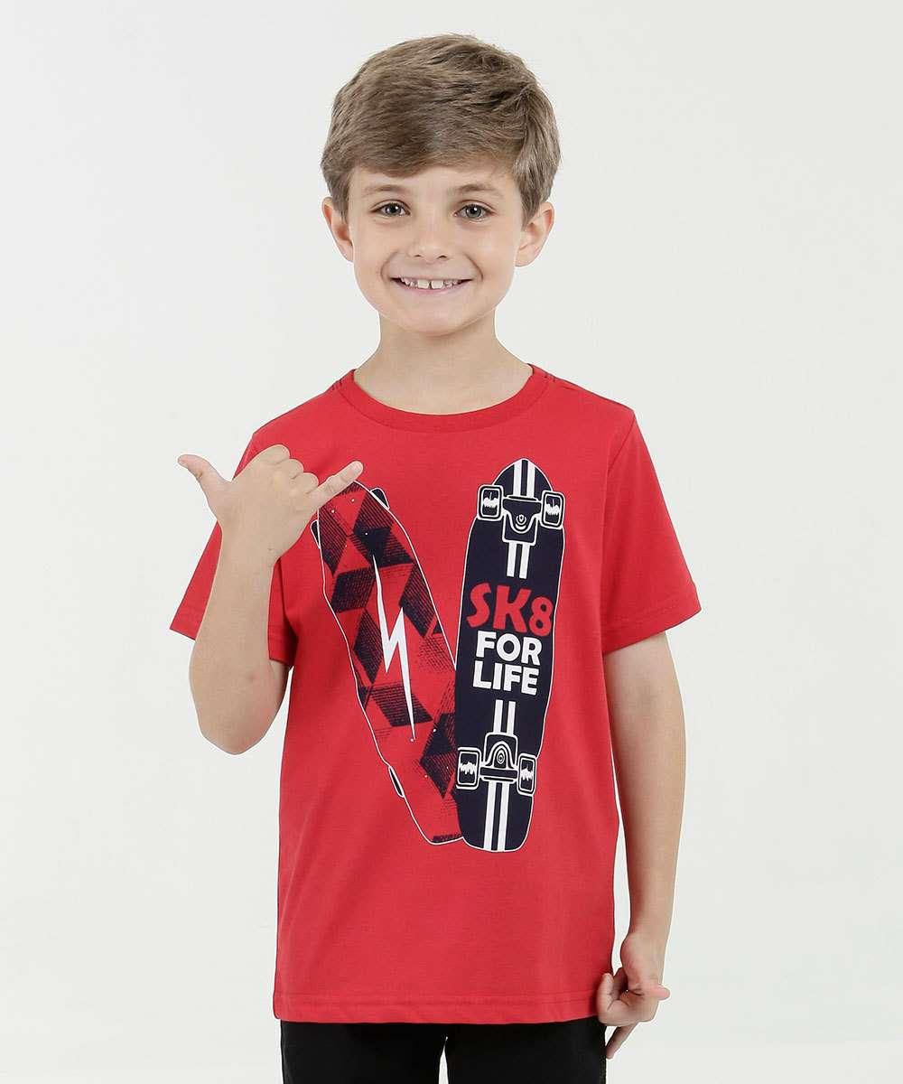 Camiseta Infantil Estampa Frontal Manga Curta Marisa