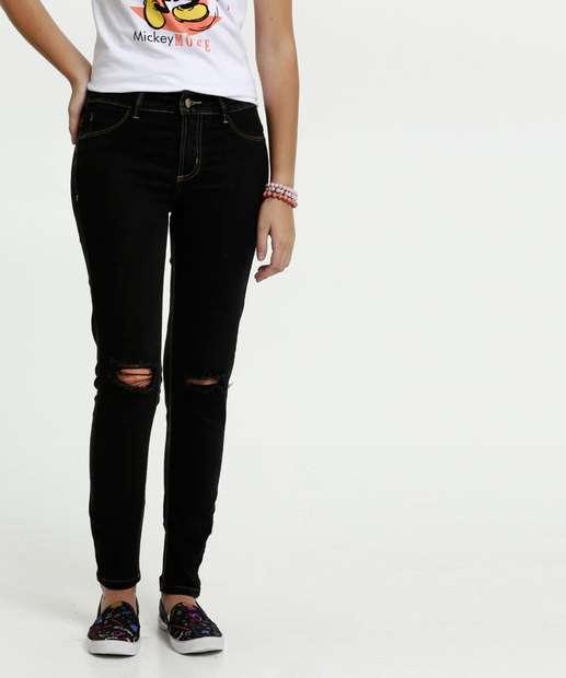 Image_Calça Juvenil Jeans Destroyed Skinny Sawary